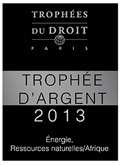 The Paris office was awarded the 'Trophée d'Argent 2013' ('Silver Trophy') award for the energy/natural resources/Africa category