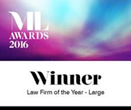Manchester Law Awards 2016- Law Firm of the Year - Large