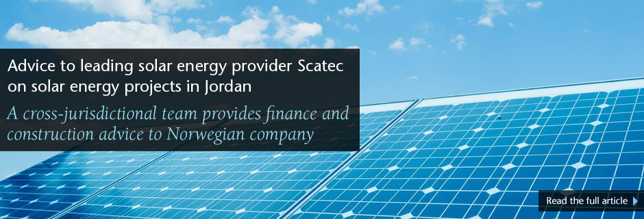 Advice to leading solar energy provider Scatec on solar energy projects in Jordan