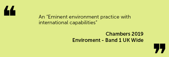 "An ""Eminent environment practice with international capabilities"" Chambers 2019 – Environment - Band 1"